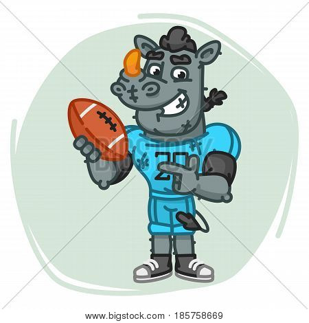 Rhino Football Player Points On Ball