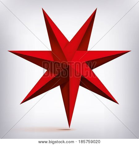 Volume seven-pointed twisted star, 3d object, red geometry shape, mesh version, abstract vector