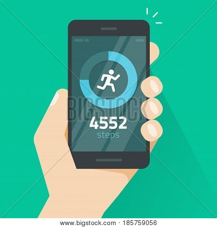 Fitness tracking app on mobile phone screen vector illustration flat cartoon style, smartphone with run tracker, running or walk steps counter sport tech on cellphone