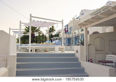 SANTORINI, GREECE - CIRCA AUGUST, 2015: view of Andromeda Villas. Andromeda Villas is a hotel are situated in Imerovigli, Santorini island.