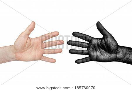 Black and White Human Hands isolated on white background taken closeup.