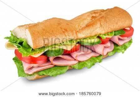 Ham and cheese salad submarine sandwich from freshly cut baguette