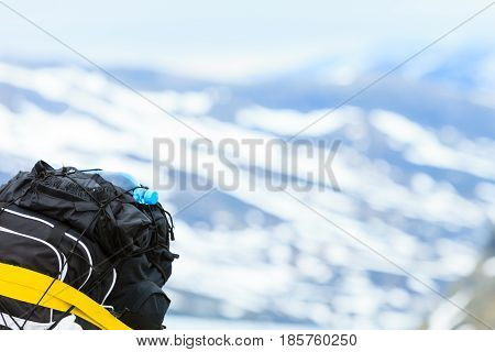 Motorcycle With Luggage In Mountains Area