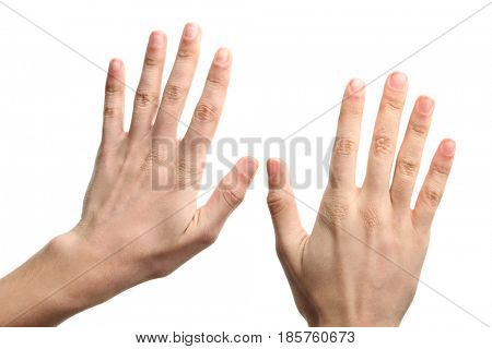 Male hands on white background