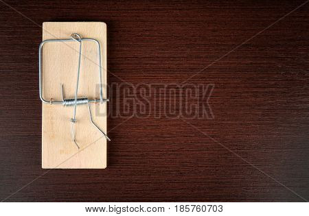 Mousetrap on wooden background