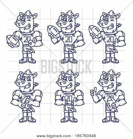 Sketch Character Set Rhino Football Player Holds Rectangular Ball