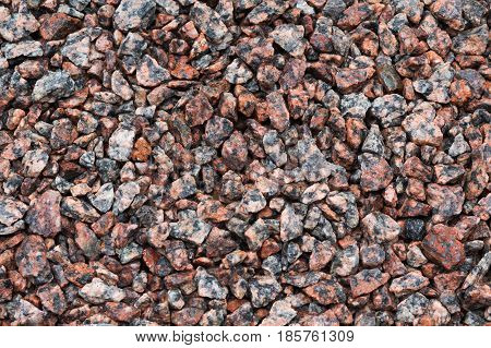 Stone texture background. Crushed gravel as background or texture. Granite gravel.