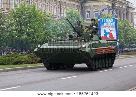 Donetsk Ukraine - May 9 2017: Infantry fighting vehicle of the army of the Donetsk People's Republic at a military parade in honor of the anniversary of victory in World War II
