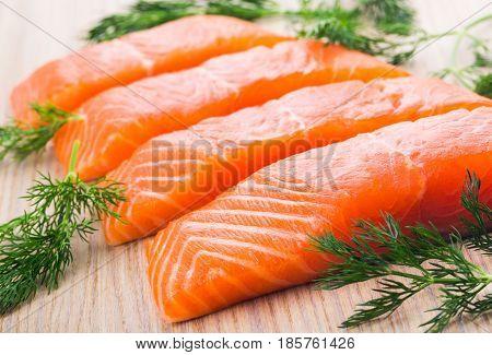 Fresh Wild Salmon Steak & Raw Fish Fillet, Healthy Food Preparation