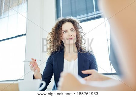 Competent businesswoman during negotiation in start-up