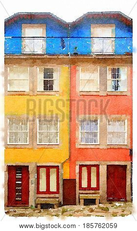 Digital watercolour of two colourful houses in Portugal