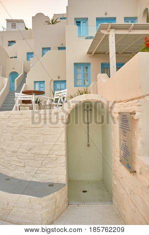 SANTORINI, GREECE - CIRCA AUGUST, 2015: Andromeda Villas at morning. Andromeda Villas is a hotel are situated in Imerovigli, Santorini island.