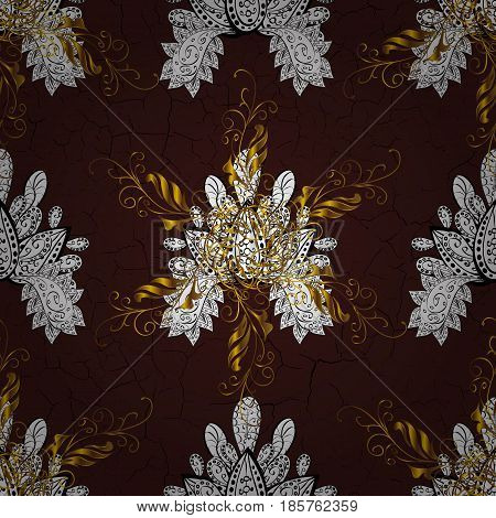 Stylish graphic pattern. Seamless vector background. Sketch baroque damask. Golden elements on brown background. Floral pattern.