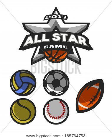 All star game logo emblem for basketball volleyball football tennis basketball