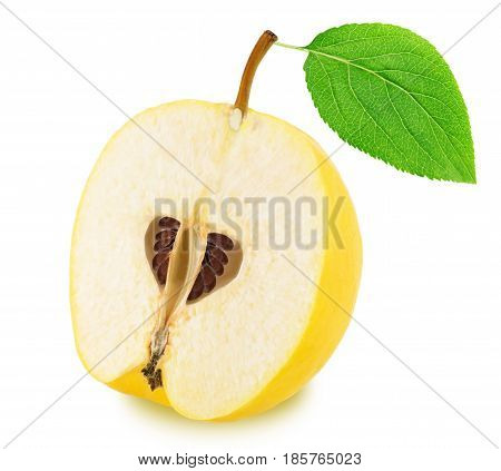 Half of ripe apple-quince with leaf isolated on a white