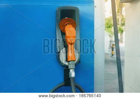 Fuel nozzle at gas station. Concept /energy Fuel dispensers