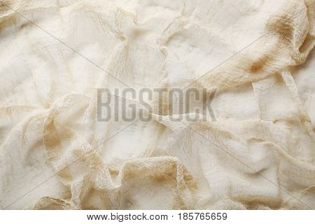 The Beige gauze fabric background, close up