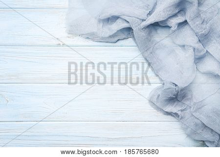 Grey Gauze Fabric On White Wooden Table