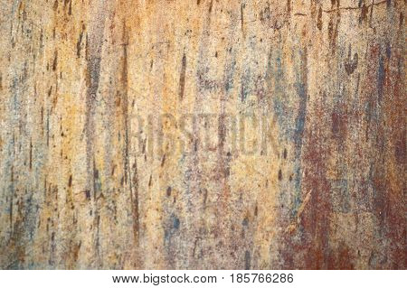 Blur Multicolored Peeling Wall Texture And Background. Surface With Brush Strokes, Stains. The Color