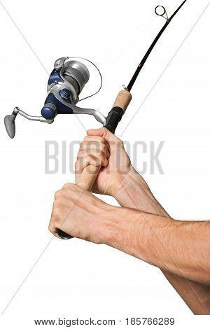 Closeup of a Fisherman Holding a Fishing Rod