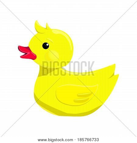 Vector illustration of bath yellow duck isolated on white background. Rubber duck icon
