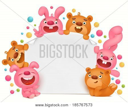 Invitation card template with funny cartoon toy animals Vector illustration