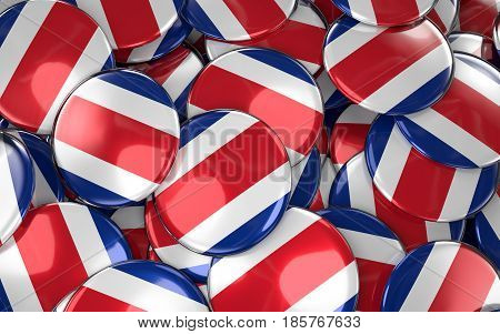 Costa Rica Badges Background - Pile Of Costa Rican Flag Buttons.