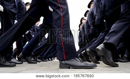 Orel Russia - May 9 2017: Celebration of 72th anniversary of the Victory Day (WWII). Military men in uniform marching in step closeup