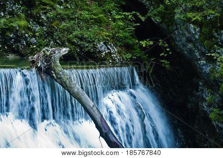 Waterfall at Vintgar canyon in slovenian Alps, Slovenia