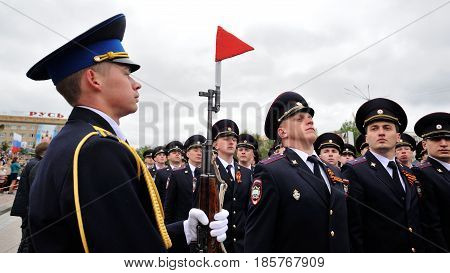 Orel Russia - May 9 2017: Celebration of 72th anniversary of the Victory Day (WWII). Military men marching horizontal