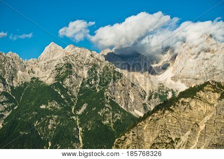Mountain peaks of slovenian Alps at late afternoon near Vrsic mountain pass in Triglav national park, Slovenia