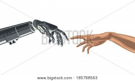 Robots Mechanical Finger touching a Humans Finger.  Artificial Intelligence Futuristic technology concept vector.