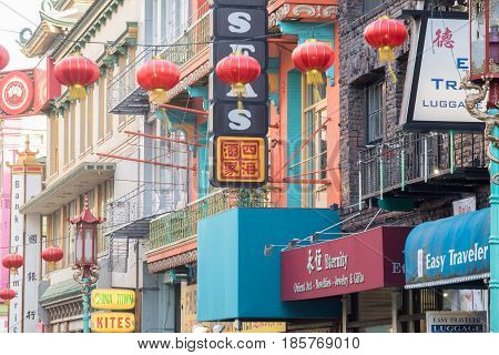 San Francisco, California, United States - May 9, 2017: Grant Avenue in Chinatown of San Francisco