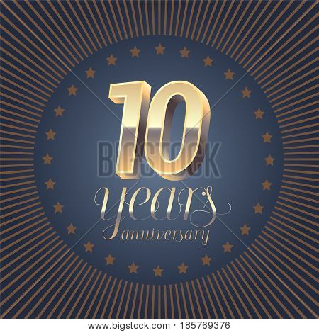 10 years anniversary vector logo. Decoration design element with medal and 3D number for 10th anniversary