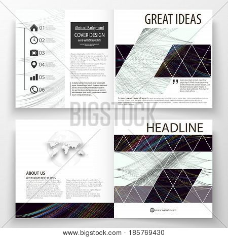Business templates for square bi fold brochure, magazine, flyer, booklet. Leaflet cover, flat layout, easy editable vector. Abstract waves, lines and curves. Dark color background. Motion design