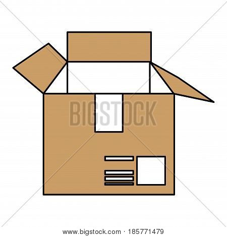 color silhouette cartoon brown box of cardboard opened vector illustration