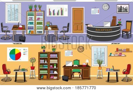 Set of modern office interior with stylish furniture - desks, computer chairs, bookcases, bookshelves. Workplace director, employees and reception. Office space. Flat style vector illustration.