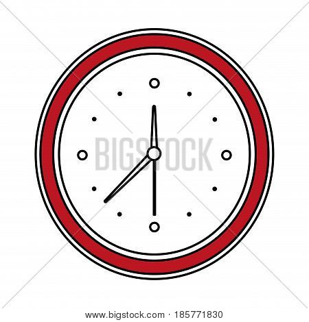 color silhouette cartoon red contour analog wall clock vector illustration