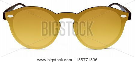spotted brown sun glasses golden mirror lenses isolated on white background