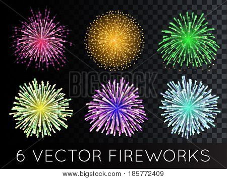 Vector EPS 10 Fireworks Set with transparency