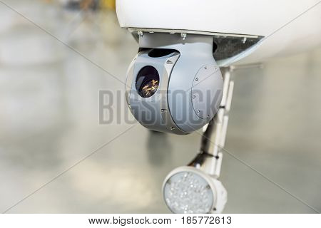 Detail of the in-flight field camera installed on an unmanned aircraft.