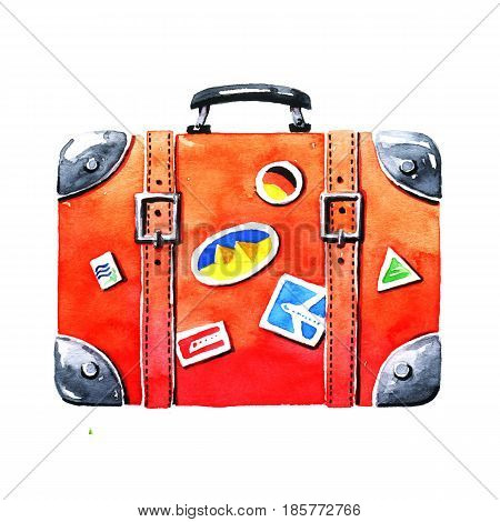 Red tourist suitcase. Hand-drawn watercolor image on white background