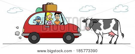 Cartoon of cow on street in front of car of a family