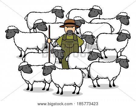 Shepherd with flock of sheep in farm as cartoon
