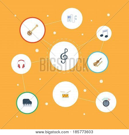 Flat Tone Symbol, Quaver, Earphone And Other Vector Elements. Set Of Audio Flat Symbols Also Includes Drum, String, Musical Objects.