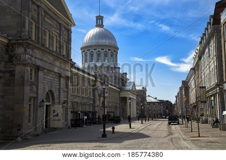 MONTREAL, CANADA - April 23, 2017:  built in 1844, Marche Bonsecours in Old port in Montreal, Quebec and was for more than 100 years, it was the main public market in the Montreal area