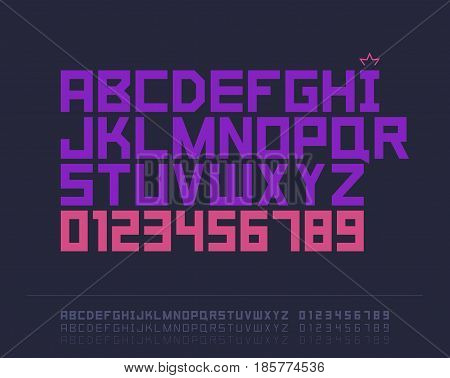 Flat font. Vector alphabet with latin letters and numbers
