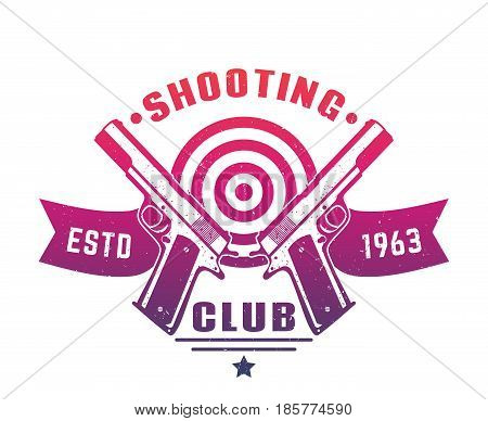 Shooting club logo, emblem, badge with two pistols over white