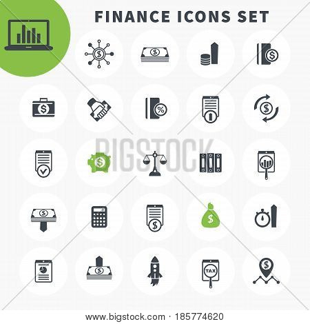 25 finance icons set, investing, shares, stocks, funds, assets, investment, income, financial instruments pictograms over white poster