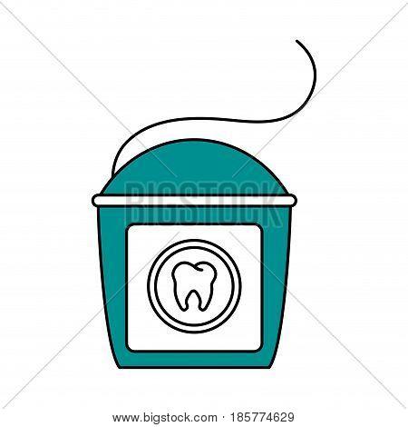 color silhouette cartoon dental floss for oral health vector illustration
